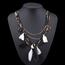 Find Me 2018 Fashion Boho Multilayer Woven Long tassel Statement Necklace Pendants Ethnic collar Choker Necklace Women Jewelry