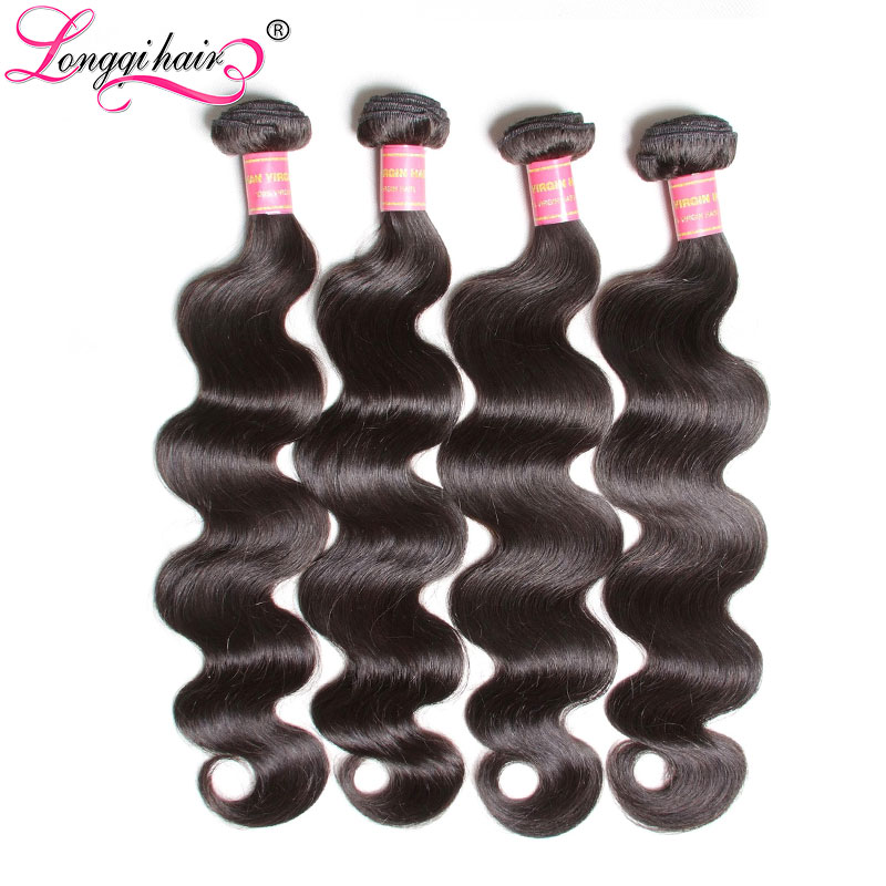 Longqi Hair Malaysian Body Wave Human Hair Weaves 100 Remy Hair 4 Bundles Deal Natural Color