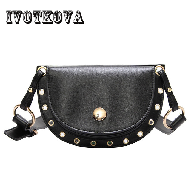 IVOTKOVA Fashion Waist Packs for Women Pu Leather Lady Belt Pouch Bags 2018 New Design Women Shoulder Bag Handbags Purse