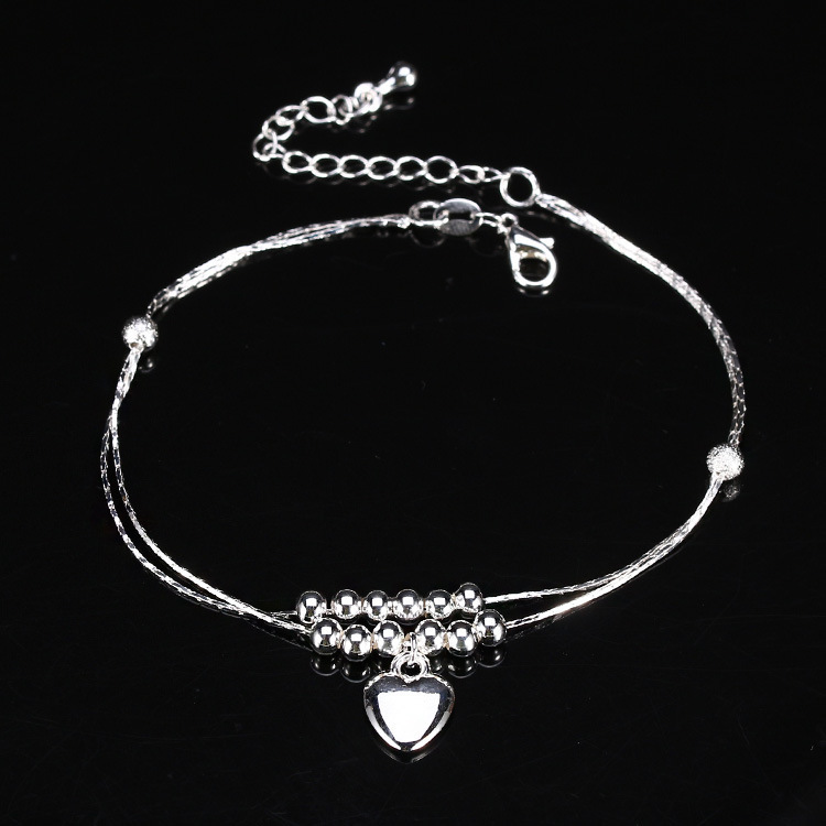 New Charm Anklets for Women Vintage Foot Jewelry Ancient Silver Plated heart Ankle Chain Bracelet