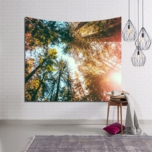 LYN&GY Decor Rectangular Tapestry Mat Landscape Wall Hanging Decorative Nature Tree Painting Clothe Craft Background