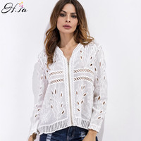 H SA 2017 Women Summer Blouse White Cardigan Lace Beach Sunscreen Long Sleeve Tops Blouse Cardigan