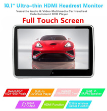 10.1 inches Car Headrest DVD PlayerBuilt-in Hitachi Lens USB SD HDMI Port TFT LCD Screen Touch Button Support Wireless Headphone obeytec 15 6 interactive touch foil film wide screen transparency usb port support android linux windows