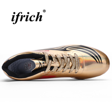 Mens Athletic Track and Field Gold Silver Spikes Shoes Lightweight Comfortable Running Spikes