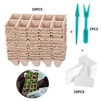 Behogar 10PC 10-Grid Biodegradable Seed Starter Peat Pots 24x8.5x5cm +2PCS Seedlings Dibbers +50PCS Plant Labels Tags for Garden