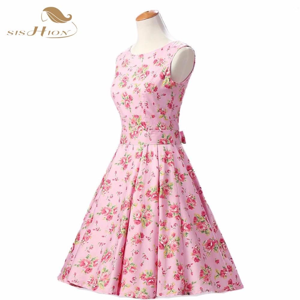 SISHION Elegant Pink Floral Dress Sleeveless Tank Cotton Belt 50s ... e69440ac4cbc