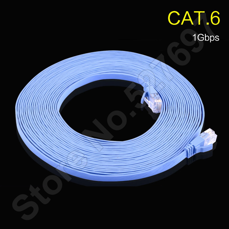 CAT.6 Gigabit Ethernet Cables Flat Design Copper 250mhz 1Gbps 2.3mm thin Computer Network Internet Lines Stable Network 0.5-30m