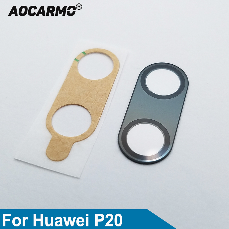 Aocarmo Rear Back Camera Lens Glass Ring Cover With Adhesive Replacement Part For Huawei P20 5.8