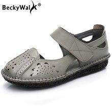 8325d55a BeckyWalk cerrado Toe verano Zapatos Mujer Sandalias de cuero genuino  Oxford zapatos de las mujeres recortes