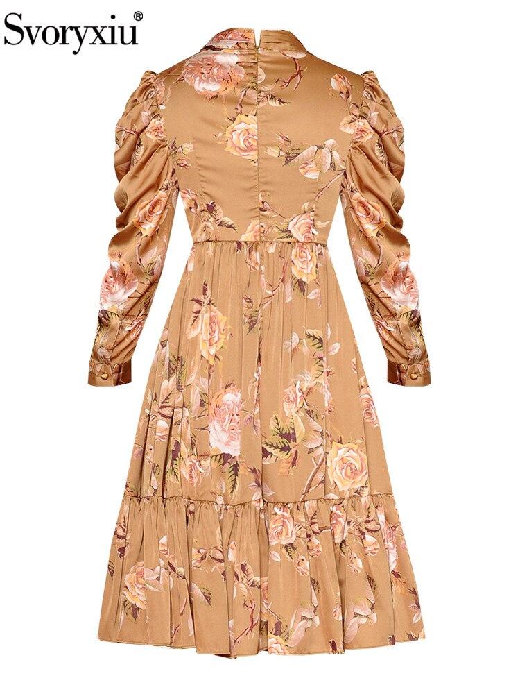 Svoryxiu Designer Vintage ชุดฤดูใบไม้ร่วงของผู้หญิง Elegant Stand Collar พัฟแขนเสื้อดอกไม้พิมพ์พับโบว์ชุด Vestdios-ใน ชุดเดรส จาก เสื้อผ้าสตรี บน   2