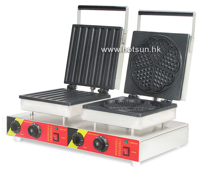 Free Shipping Commercial Non-stick 110V 220V Electric 2 in 1 Churro + Heart Shaped Waffle Maker Iron Machine free shipping commercial non stick 110v 220v electric 2 in 1belgium waffle stick churros maker machine