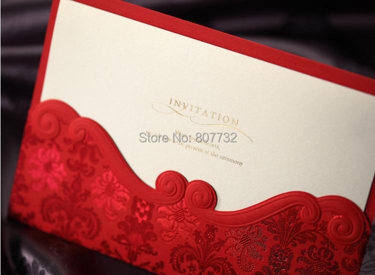 Hochwertige Rote Blume Prägung Und Gold Bronzing Hochzeit Einladungskarte 185 * 128mm, Mit Umschlag, Inneres Papier Und Dichtungen