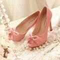 Simple Bowtie Mujer Primavera Verano Zapatos de Tacón Alto de Cuero Genuino Peep Toe Zapatos de Vestir de Moda Blanco Zapatos Nupciales de La Boda