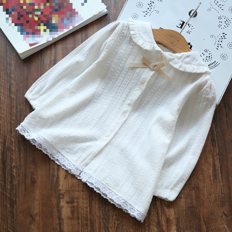 2018 Fall Winter Blouse Girls Shirts Cotton Solid White Long Sleeve Child Shirt Girl Kids Baby Toddler Tops And Blouses AA2819