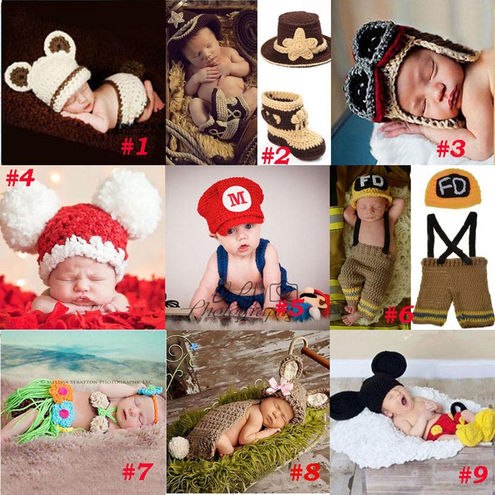 Kézzel készített horgolt fotósok kötött újszülött sapka fiú lány jelmez felszerelés tűzoltó cowboy szuper Mario SG043