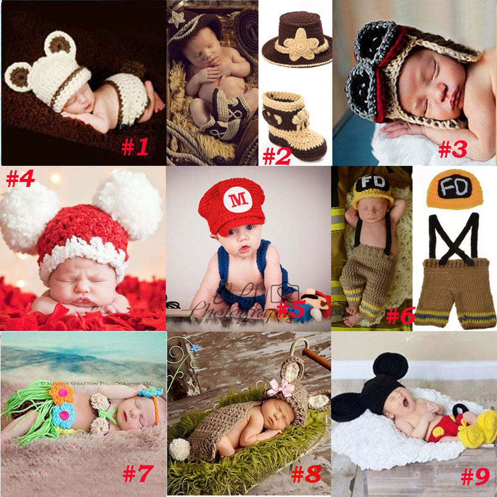Handmade Crochet Photography Rekwizyty Dzianinowe Noworodek Kapelusz Boy Girl Kostium Strój Strażak Kowboj Super Mario SG043