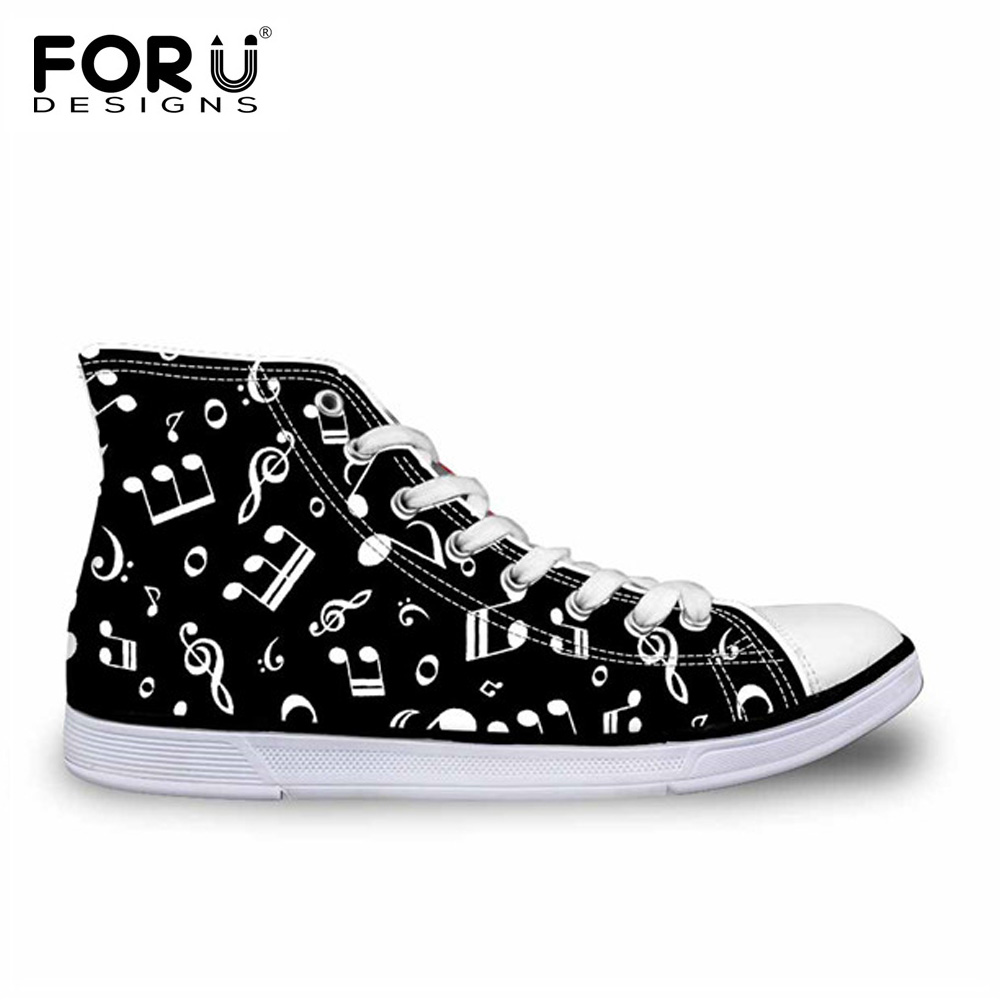 FORUDESIGNS Music Note 3D Print Men Vulcanized Shoes Casual Flats Men's Sneakers High Top Canvas Shoes for Teen Boys Zapatos Man