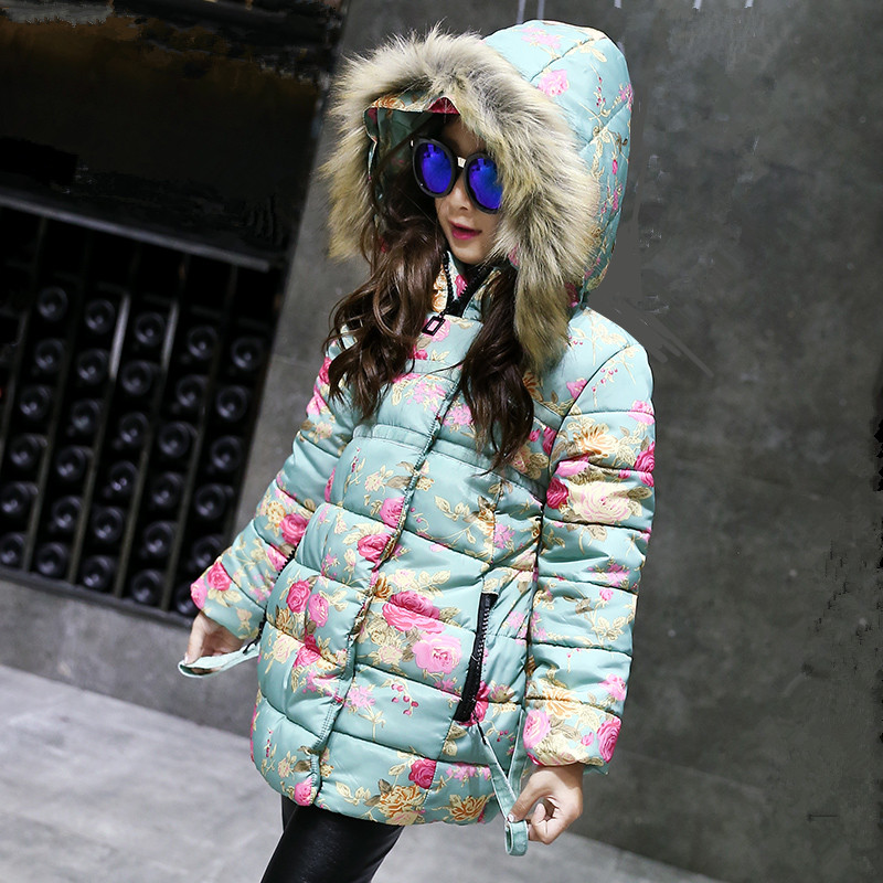new 2017 winter jackets girls coat with faux fur collar long parka kids clothes children clothing warm blue flower hooded coat girls parka coats 2016 girls faux fur coat winter coat medium long kids girls brand children jackets elegant childrens clothes