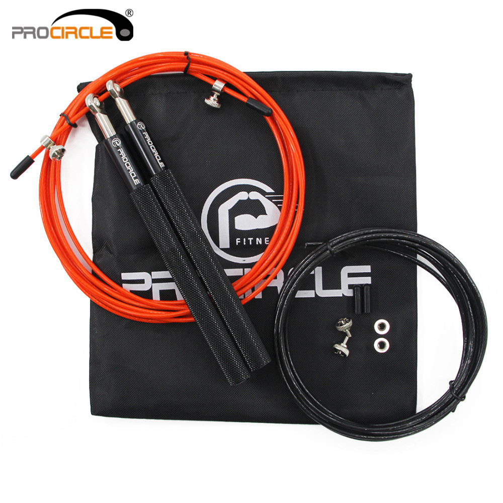 PROCIRCLE Crossfit Jump Rope Ultra-speed Ball Bearing Skipping Rope Gym Fitness With Free Bag metal bearing steel cable wire high skip adjustable jump rope exercise gym fitness 3m
