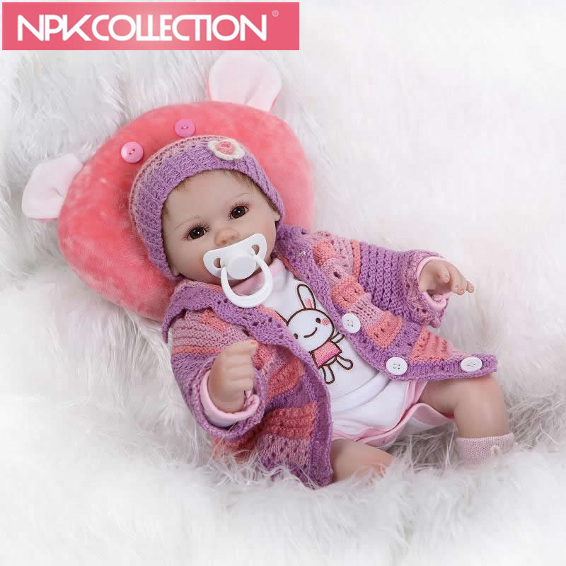Collectible 17 inch reborn babies lifelike soft silicone newborn dolls real touch girl doll kids birthday gift N187