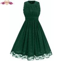 New Vintage Lace Dress Women Summer Rockabilly Evening Party Dresses Green Sleeveless Defind Waist Swing Tunic