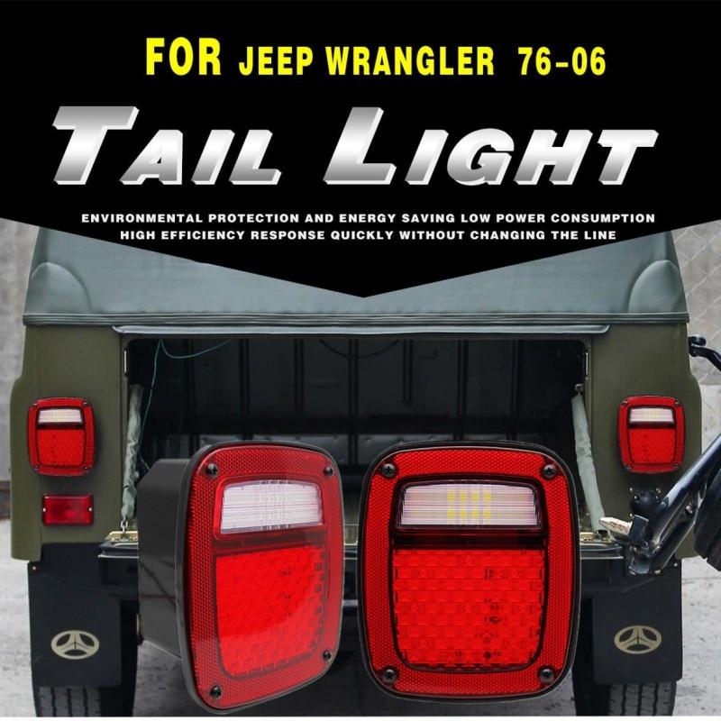 SUPAREE 2pcs LED Tail Lights Brake/Reverse/Turn Signal/License Light Functions For Jeeps 76-86 CJ7/87-06 Wranglers/1997-2006 TJ