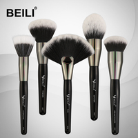 BEILI Black Professional 5pcs Makeup brushes Set Synthetic Hair Wool fiber Powder Foundation Cream Stippling Brush for makeup