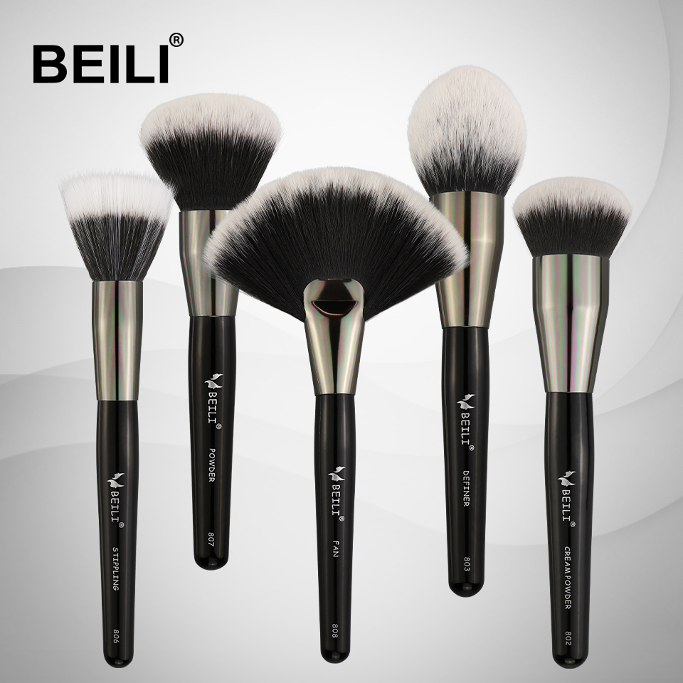 BEILI Professional 5pcs Makeup brushes Set Synthetic Hair Wool fiber Blusher Powder Foundation Cream Stippling beili single 104 flat kabuki single synthetic hair face для умывальника румяна черная макияжная кисть