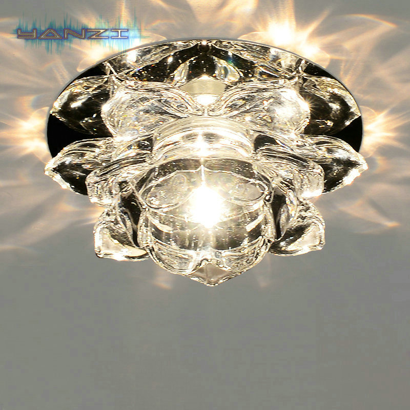 Luxury Light Fashion 3W LED Ceiling Lamps Diameter 120mm K9 Crystal Light AC85 265V Crystal Ceiling
