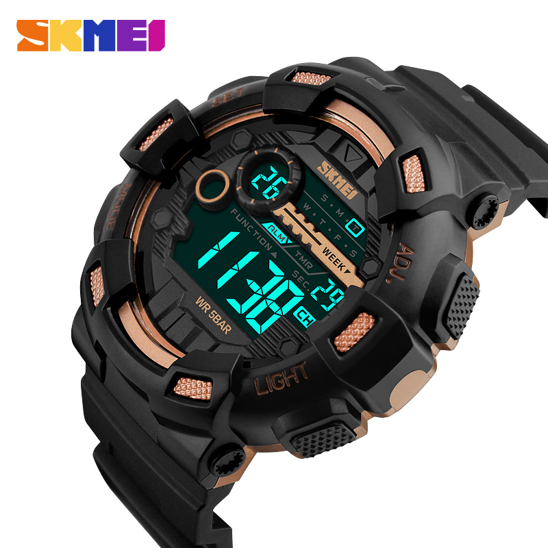 SKMEI Men Digital Wristwatches LED Display Multiple Time Zone 50M Waterproof Clock Relogio Masculino Outdoor Sports Watches 1243