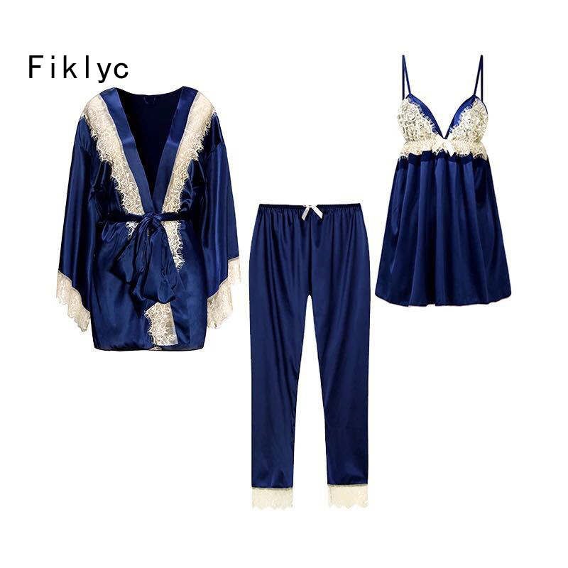 Fiklyc brand women's lace satin   pajamas     set   + bathrobe three pieces faux silk female nightwear sexy homewear summer nighties NEW
