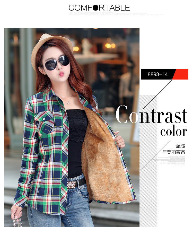 19 Brand New Winter Warm Women Velvet Thicker Jacket Plaid Shirt Style Coat Female College Style Casual Jacket Outerwear 28