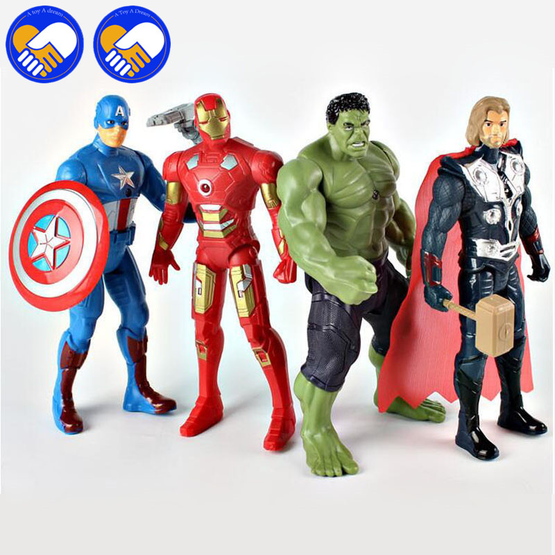 18CM The avengers Super Heroes Thor Captain America Spider man iron Man PVC Action Figure Model Toy With Light Best Gifts Toys 1 6 scale 30cm the avengers captain america civil war iron man mark xlv mk 45 resin starue action figure collectible model toy