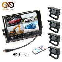 Sinairyu Автомобильная резервная камера системы, 9 дюймов TFT ЖК монитор + 4 шт. камера заднего вида автобус, грузовик, фургон трейлер внедорожник к