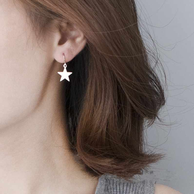 Simple Fashion Drop Earrings Jewelry Women Accessories Gold Silver Small Stars Beads Earrings Boucle D'oreille Femme Pendante