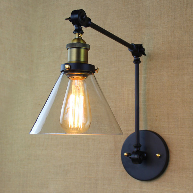 Vintage Glass Wall Sconces,double Arm Adjustble Led Wall Light Lighting  Indoor For Dinning Living