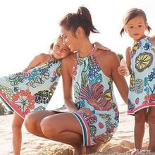 Платья «Мама и я»; Одинаковая одежда с цветочным принтом для мамы и дочки; повседневное женское праздничное платье; детское платье для девочек; пляжная одежда для семьи