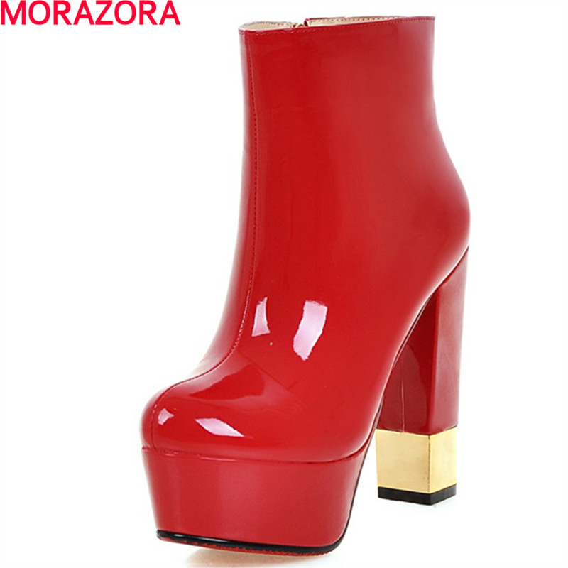 MORAZORA women autumn winter hot sale high boots female platform shoes woman fashion round toe thick