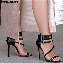 TINGHON Sexy Rivets Women Pumps High Heels Metal Buckle Heel Sandals for Black Gladiator