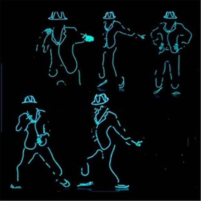 Led Luminous Flashing Growing Light Robot Suit EL Wire Costume,Cap ...