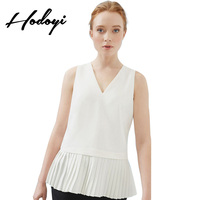 Ruffle Blouse China Clothing Ladies Tops Womens Clothes V collar pleated skirt sleeveless blouse Camisetas Blusa De Frio Mujer