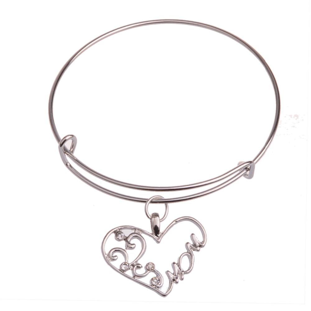 Crystal Heart Hollow Flower Mom Silver Plated Bracelet Bangle Family Mother Mommy Rhinestone Women Jewelry Bangles Gifts Brincos