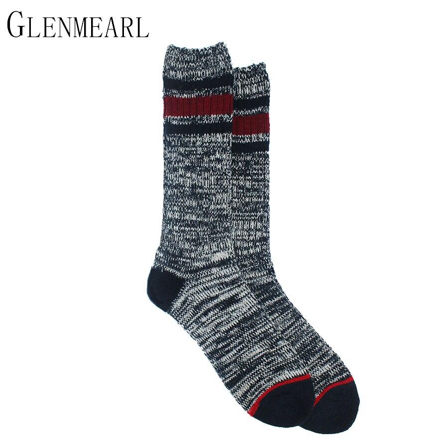 Merino Wool Men Socks Fall Winter High Warm Striped Compression Coolmax Casual Thick Brand Plus Size Long Boot Male Socks 2PK