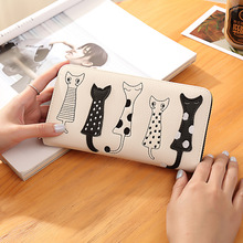 Women Wallet Luxury High Quality Cat Cartoon Creative Female Card Holder Casual Zip Ladies Clutch PU Leather Coin Purse 179 short cute cartoon snow cat women s wallet coin purse high quality trifold bags for teenagers girl female ladies clutch card bag