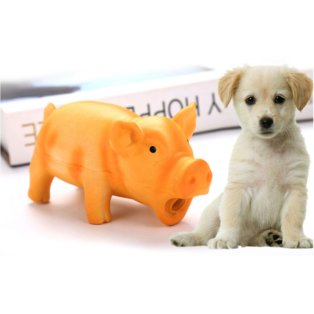 Pet Piggy Puppy Chew Toys Cute Pig Grunting Squeak Latex Pet Toys Teeth Grinding Bite-resistant Training Molar Pet Tool Products(China)