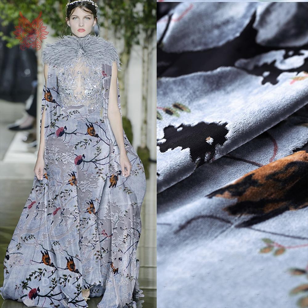 Rayonne velours tissu flocage soie tissu pour robe oiseau floral burnout soie tissu tecidos stoffen fil livraison gratuite SP4655