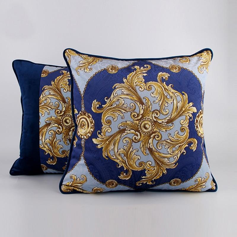 Hot Sale Home Luxury Euro Sofa Cushion Cover Living Room Blue