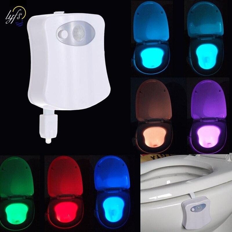 الذكية الحمام مصباح ليلي للمرحاض LED الجسم الحركة المنشط On/Off مقعد الاستشعار مصباح 8 اللون PIR luces led الإضاءة الديكور