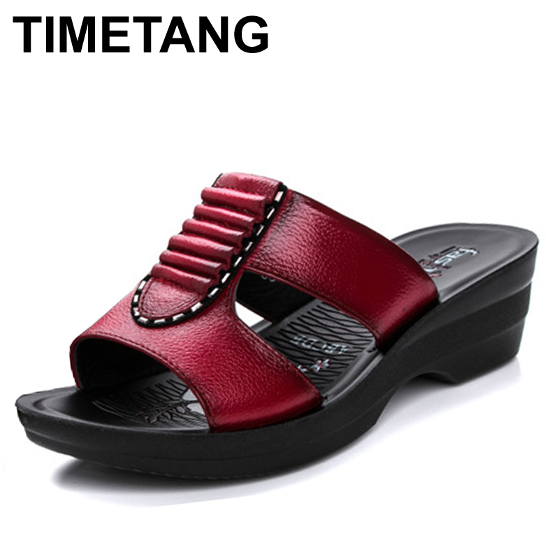 TIMETANG Summer new mother slippers fashion ladies slippers soft comfortable casual large size shoes Woman Slope with slippers new arrival star same paragraph woman slippers summer plus size comfortable attractive sapatos hot sales soft tenis feminino