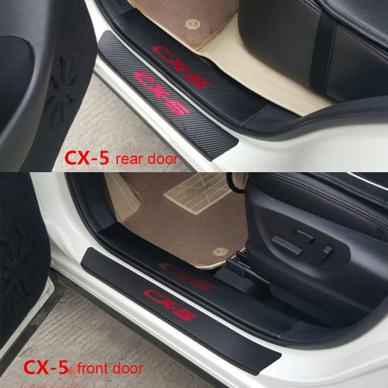 Carbon Fiber Door Sill Scuff Plate Welcome Pedal Threshold  Protect Stickers For Mazda CX-5 CX5 2014 2015 8pcs Car Styling cool custom led running door sill strip welcome pedal scuff sill plates cover stickers car stying for mazda cx 5 2013 2014